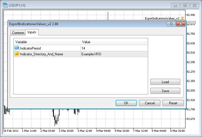 Export Indicator's Values - скрипт для МТ5, скачать бесплатно