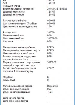 Account Info & Market Info - скрипт для МТ4, скачать бесплатно