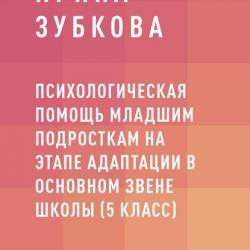 Психологическая помощь младшим подросткам на этапе адаптации в основном звене школы (5 класс) (Ирина Владимировна Зубкова)