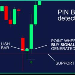 пин-бар на графике форекс, определенный индикатором